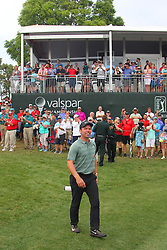 March 11, 2018 - Palm Harbor, FL, U.S. - PALM HARBOR, FL - MARCH 11: 2018 Valspar champion Paul Casey walks back to the 18th green for the trophy presentation after the final round of the Valspar Championship on March 11, 2018, at Westin Innisbrook-Copperhead Course in Palm Harbor, FL. (Photo by Cliff Welch/Icon Sportswire) (Credit Image: © Cliff Welch/Icon SMI via ZUMA Press)