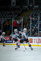 KELOWNA, CANADA - FEBRUARY 17: Kyle Topping #24 of the Kelowna Rockets warms up with the puck against the Edmonton Oil Kings  on February 17, 2018 at Prospera Place in Kelowna, British Columbia, Canada.  (Photo by Marissa Baecker/Shoot the Breeze)  *** Local Caption ***