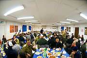 Israel, Army Base, Soldiers around Tables set for the traditional Passover Seder meal