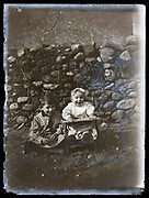 young brother with little baby toddler portrait France 1921