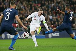 BRITAIN-LONDON-FOOTBALL-INTERNATIONAL FRIENDLY-ENGLAND VS USA.(181115) -- LONDON, Nov. 15, 2018  England's Wayne Rooney (C) attempts a shot and fails to score, as USA's Matthew Miazga (L) and USA's Tyler Adams attempt to block  during the International Friendly football match between England and USA at Wembley Stadium in London, Britain on Nov. 15, 2018.  England won 3-0. (Credit Image: © Tim Ireland/Xinhua via ZUMA Wire)