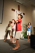 The children's dance team leading a worship set during the Easter service at the Evangelical Church of Bangkok (ECB) on 24 April 2011 in Bangkok, Thailand