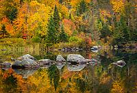 Autumn foliage and reflections, Seyon Pond, Groton State Forest, near Groton, Vermont