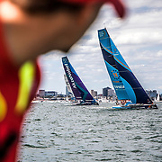 Leg 4, Melbourne to Hong Kong, day 01 on board MAPFRE, Leg start, Guillermo Altadil looking at vestas, akzonobel and turn the tide. Photo by Ugo Fonolla/Volvo Ocean Race. 02 January, 2018.