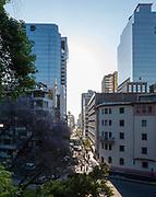 Wide-angle city view from Cerro Santa Lucia, Santiago, Chile.