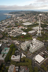 North America, United States, Washington,  Seattle, aerial view of Seattle Center, Space Needle, and Puget Sound