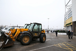 JCB equipment used to clear the car parks outside the stadium before Derby County's and Fulham's match at Pride Park Stadium