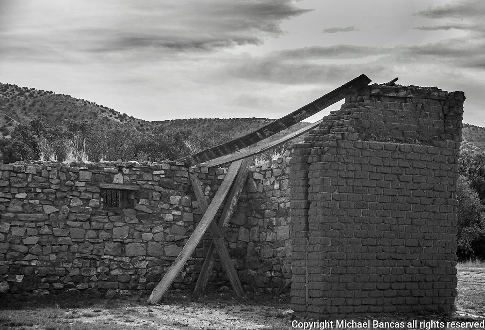 Old adobe ruins in the center of Lincoln NM.