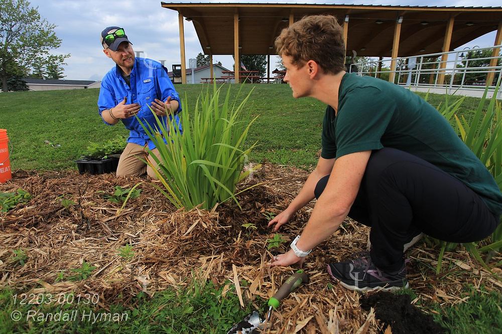 High school environmental sciences teacher Luke Freeman and Huron Pines community program director Abby Ertel plant wildflowers in bioswale of rain garden at River Side Park in Au Gres, Michigan.