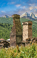 Stone medieval Svaneti tower houses of Murkmeli, Upper Svaneti, Samegrelo-Zemo Svaneti, Mestia, Georgia.  Murkmeli is a village near Ushguli is a group of four remote villages. At 2,200 m (7217 ft) above sea level in the Caucasus mountains these are the highest inhabited villages in Europe. Murkmeli has well preserved stone Svanetian defensive tower houses attached to stone family houses. A UNESCO World Heritage Site. .<br /> <br /> Visit our REPUBLIC of GEORGIA HISTORIC PLACES PHOTO COLLECTIONS for more photos to browse, download or buy as wall art prints https://funkystock.photoshelter.com/gallery-collection/Pictures-Images-of-Georgia-Country-Historic-Landmark-Places-Museum-Antiquities/C0000c1oD9eVkh9c