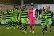 Players and mascot arrive on the pitch during the Vanarama National League match between Forest Green Rovers and Dagenham and Redbridge at the New Lawn, Forest Green, United Kingdom on 29 October 2016. Photo by Alan Franklin.