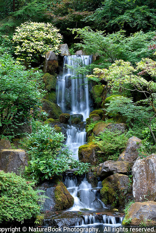 Tranquil falls and lush plant life make this spot at Portland Japanese Gardens a perfect place to relax.