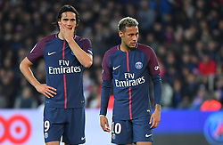 PSG's Edinson Cavani and Neymar Jr during the Ligue 1 match Paris Saint Germain v Olympique Lyonnais at Parc des Princes on September 17, 2017 in Paris, France. One of the big talking points from the match was the apparent tension between Cavani and the world's most expensive player, Neymar. Cavani won an argument to take a penalty, only to then miss it, while Dani Alves got involved in a disagreement over a free-kick and gave the ball to his fellow Brazilian Neymar. Photo by Christian Liewig/ABACAPRESS.COM
