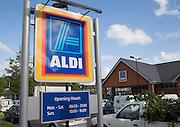 Aldi shop sign, Abergavenny, Monmouthshire, South Wales, UK