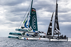 "Image licensed to Sander van der Borch<br /> ""Musandam-Oman Sail"" MOD70 Trimaran and ""Sultanate of Oman"" GC32 foiling catamaran lining up in Marseille. 29-09-2015<br /> Credit: Sander van der Borch"