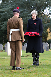 Prime Minister Theresa May at the St Symphorien Military Cemetery in Mons where she is laying wreaths at the graves of John Parr, the first British soldier to be killed in 1914, and George Ellison, the last to be killed before Armistice.