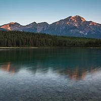 Dawn breaks over Pyramid Mountain in Jasper National Park, Alberta,Canada.