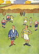 "Cartoons from Punch Almanack - 1936 , by Fougasse ...""If you do that again you leave the field"" ... ""Pooh - it's Father's."" .."