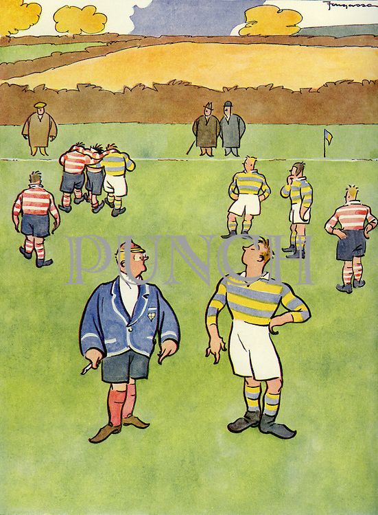 """Cartoons from Punch Almanack - 1936 , by Fougasse ...""""If you do that again you leave the field"""" ... """"Pooh - it's Father's."""" .."""
