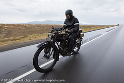 Shinya Kimura riding his Team-80 1915 Indian twin through an Arizona rain during the Motorcycle Cannonball Race of the Century. Stage-11 ride from Durango, CO to Page, AZ. USA. Wednesday September 21, 2016. Photography ©2016 Michael Lichter.