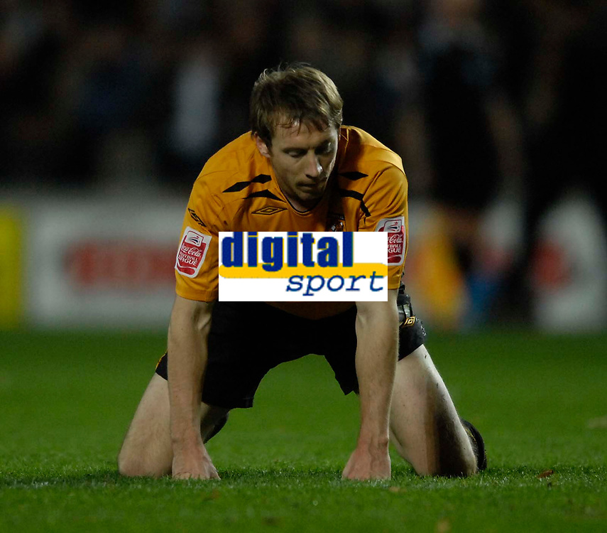 Photo: Jed Wee/Sportsbeat Images.<br /> Hull City v Cardiff City. Coca Cola Championship. 01/12/2007.<br /> <br /> Hull's David Livermore feels the pain as they concede an equaliser in injury time.