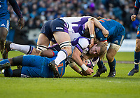 EDINBURGH, SCOTLAND - FEBRUARY 11: Scotland's David Denton is tackled during the NatWest Six Nations match between Scotland and France at Murrayfield on February 11, 2018 in Edinburgh, Scotland. (Photo by MB Media/Getty Images)
