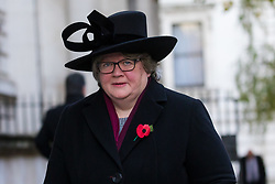 © Licensed to London News Pictures. 10/11/2019. London, UK. Work and Pensions secretary, Thérèse Coffey walks through Downing Street to attend the Remembrance Sunday Ceremony at the Cenotaph in Whitehall. Remembrance Sunday events are held across the country today as the UK remembers and honours those who have sacrificed themselves in two world wars and other conflicts. Photo credit: Vickie Flores/LNP