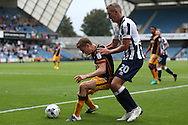 Stephen Darby of Bradford City blocks the ball from Steve Morison of Millwall. EFL Skybet football league one match, Millwall v Bradford city at The Den in London on Saturday 3rd September 2016.<br /> pic by John Patrick Fletcher, Andrew Orchard sports photography.
