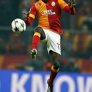 Galatasaray's Dany Nounkeu during their UEFA Champions League Round of 16 First Leg match Galatasaray between Schalke 04 at the TT Arena Ali Sami Yen Spor Kompleksi in Istanbul, Turkey on Wednesday 20 February 2013. Photo by Aykut AKICI/TURKPIX