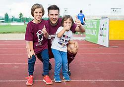 Rok Elsner of Triglav celebrates with his children after winning during 2nd Leg football match between NK Triglav Kranj and NS Drava Ptuj in Qualifications of Prva Liga Telekom Slovenije 2018/19, on June 6, 2018 in Kranj, Slovenia. Photo by Vid Ponikvar / Sportida