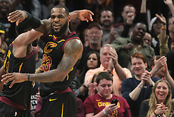 April 29, 2018 - Cleveland, OH, USA - Cleveland Cavaliers center Tristan Thompson celebrates a block against the Indiana Pacers with teammate LeBron James in the fourth quarter of Game 7 of the Eastern Conference First Round series on Sunday, April 29, 2018 at Quicken Loans Arena in Cleveland, Ohio. The Cavs won the game, 105-101. (Credit Image: © Leah Klafczynski/TNS via ZUMA Wire)