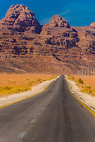 Road in Arabian Desert, Wadi Rum, Jordan.