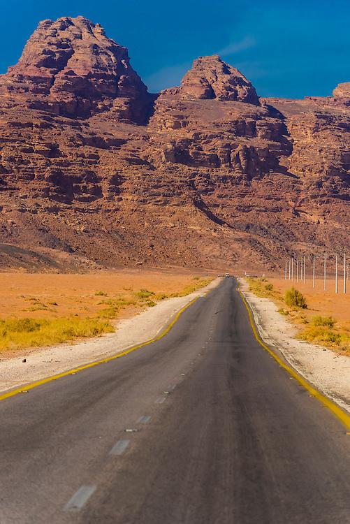 Road in Arabian Desert, Wadi Rum, Jordan.
