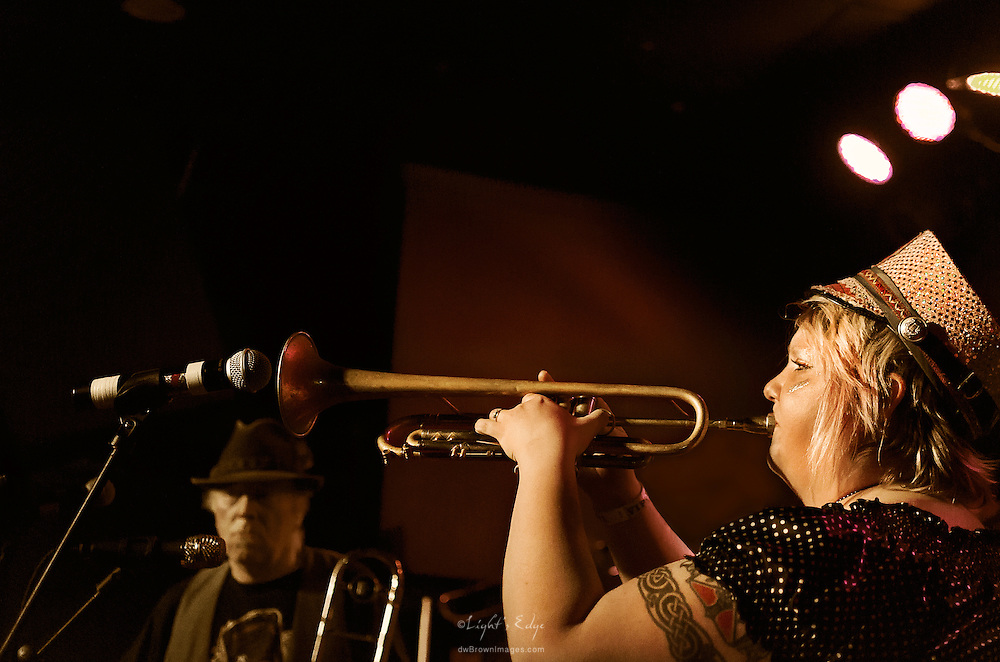 A trumpet solo during March Fourth's performance at The Blockley in Philladelphia, PA