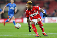 Middlesbrough forward Britt Assombalonga (9) in action  during The FA Cup 3rd round match between Middlesbrough and Peterborough United at the Riverside Stadium, Middlesbrough, England on 5 January 2019.