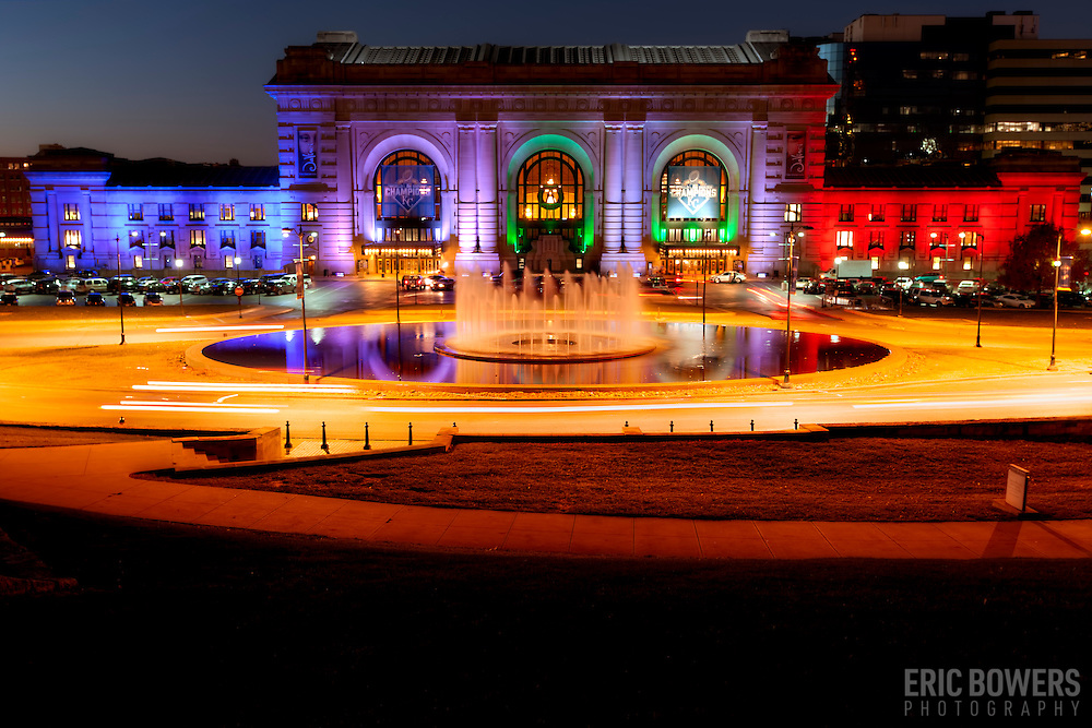 Kansas City's Union Station lit in blue, white, and red in solidarity with France following the terrorist attacks on Paris on November 13, 2015. Taken November 14, 2015.