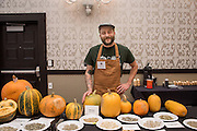 WINTER SQUASH, Cucurbita spp. <br />Chef: Timothy Wastell<br />Dish: Hull-less Pumpkin Seed Oil Ice Cream, Caramelized Pumpkin Juice & Crushed Seeds