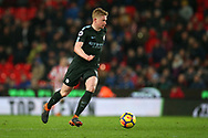 Kevin De Bruyne of Manchester City in action .Premier league match, Stoke City v Manchester City at the Bet365 Stadium in Stoke on Trent, Staffs on Monday12th March 2018.<br /> pic by Andrew Orchard, Andrew Orchard sports photography.