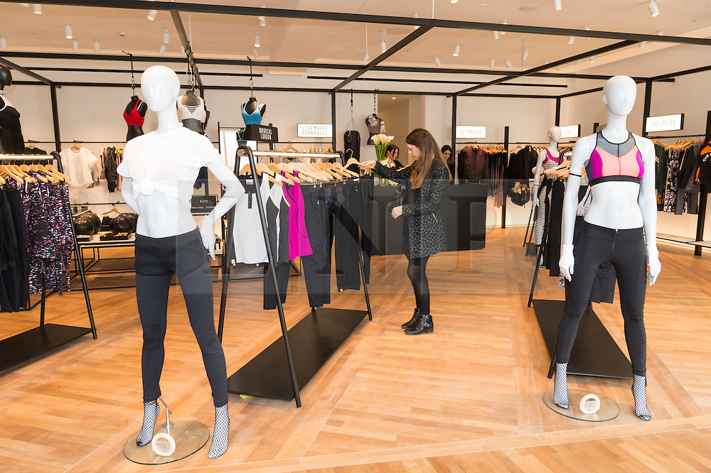 © Licensed to London News Pictures. 04/04/2016. Customers shopping at the new active wear section of the new SELFRIDGES Body Studio - the world's first fully integrated bodywear department and the largest retail space ever opened by the iconic London store. Covering over 37,000 sq ft, customers will experience over 3,000 brands and more than 5,000 different clothing options.London, UK. Photo credit: Ray Tang/LNP