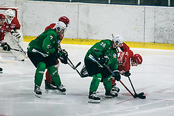 MUŠIČ Aleš of HDD Olimpija vs Zan Primozic of HDD Jesenice during 500th derbi between HK SZ Olimpija Ljubljana vs HDD SIJ Acroni Jesenice  - AHL 2019/20, on the 26th of  Oktober, Ljubljana, Slovenia. Photo by Matic Ritonja / Sportida
