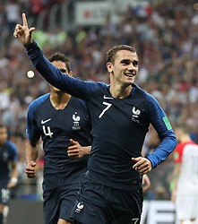 MOSCOW, July 15, 2018  Antoine Griezmann of France celebrates scoring during the 2018 FIFA World Cup final match between France and Croatia in Moscow, Russia, July 15, 2018. (Credit Image: © Cao Can/Xinhua via ZUMA Wire)