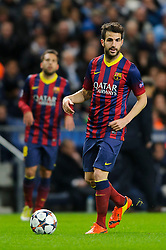 Barcelona Midfielder Cesc Fabregas (ESP) in action - Photo mandatory by-line: Rogan Thomson/JMP - Tel: 07966 386802 - 18/02/2014 - SPORT - FOOTBALL - Etihad Stadium, Manchester - Manchester City v Barcelona - UEFA Champions League, Round of 16, First leg.