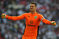 Burnley Goalkeeper Thomas Heaton celebrates after Burnley's Chris Wood scores his team's first goal just before stoppage time. Premier league match, Tottenham Hotspur v Burnley at Wembley Stadium in London on Sunday 27th August 2017.<br /> pic by Steffan Bowen, Andrew Orchard sports photography.