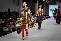 © Licensed to London News Pictures. 06/06/2018. LONDON, UK.  A model presents a look by Kirstie Johnston from Nottingham Trent University at the Best of Graduate Fashion Week 2018 show at the Old Truman Brewery in East London. The event presents the graduation show of up and coming fashion designers from UK and international universities.  Photo credit: Stephen Chung/LNP