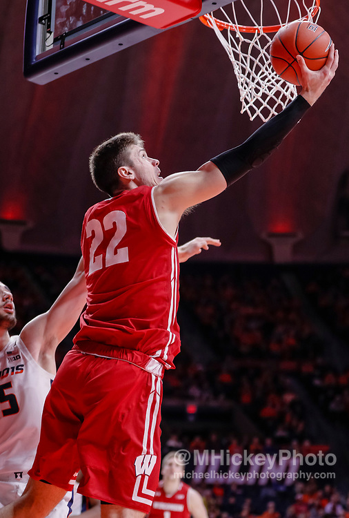 CHAMPAIGN, IL - JANUARY 23: Ethan Happ #22 of the Wisconsin Badgers shoots the ball during the game against the Illinois Fighting Illini at State Farm Center on January 23, 2019 in Champaign, Illinois. (Photo by Michael Hickey/Getty Images) *** Local Caption *** Ethan Happ