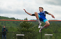 Zach Birtz of Kearsarge at the high jump during Sunday's Division III Track Championships held at Interlakes High School.  (Karen Bobotas/for the Concord Monitor)