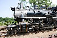 Essex Steam Train follows the Connecticut River near Deep River Station,  CT.