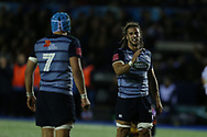 Josh Navidi of Cardiff Blues (r).Guinness Pro14 rugby match, Cardiff Blues v Dragons at the Cardiff Arms Park in Cardiff, South Wales on Friday 6th October 2017.<br /> pic by Andrew Orchard, Andrew Orchard sports photography.