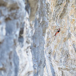 Alex Bourassa climbing Fudge Packer, 5.13d at Planet X in Canmore, AB