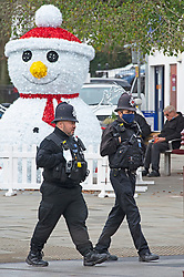 © Licensed to London News Pictures. 02/12/2020. <br /> Tunbridge Wells, UK. Police officers on patrol in the Town Centre. Tunbridge Wells in Kent has a low Coronavirus infection rate but is now a tier three area after coming out of lockdown with the rest of the county. Photo credit:Grant Falvey/LNP